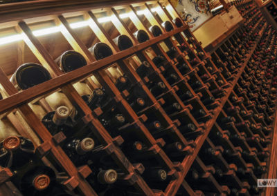 A large wine cellar filled with bottles of wine complete with custom lighting.